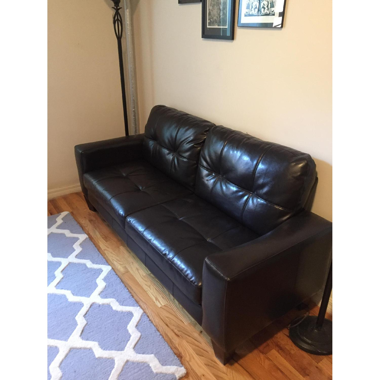 Jennifer Convertibles Black Leather Sofa - image-5