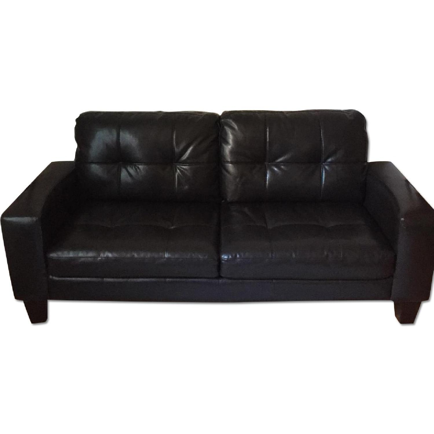 Jennifer Convertibles Black Leather Sofa - image-0
