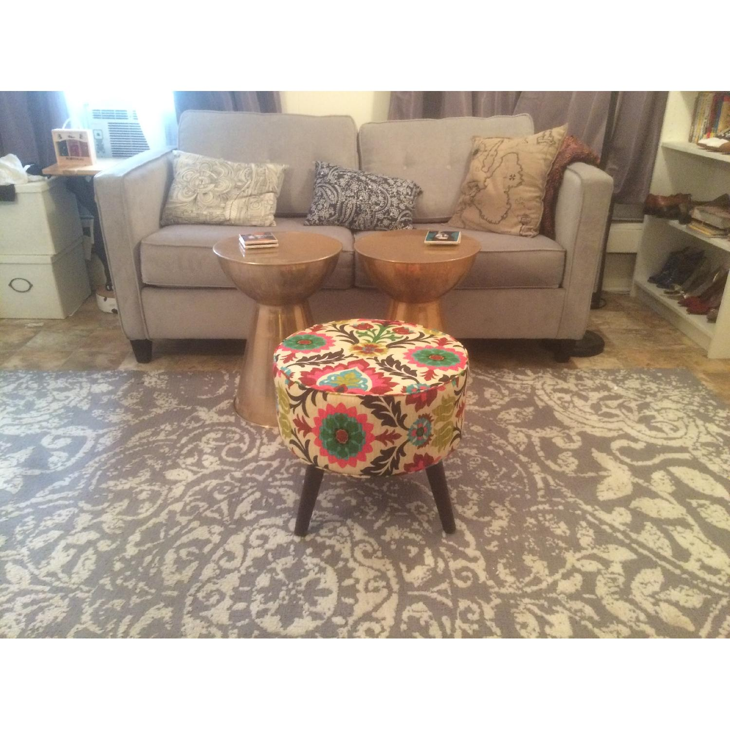 Gray & White Patterned Rug - image-1
