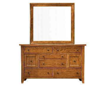 Raymour & Flanigan Galveston Oak Dresser w/ Mirror