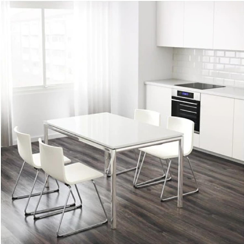 Ikea Torsby White High Gloss Chrome Table-0