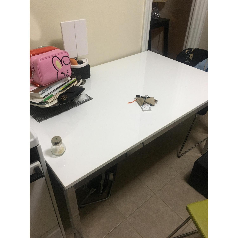 Ikea Torsby White High Gloss Chrome Table-2