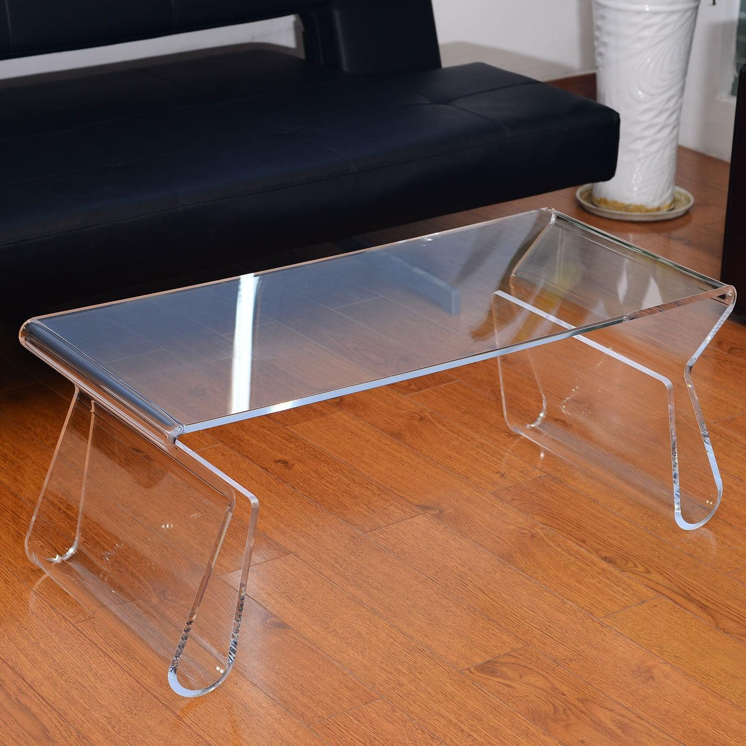 Manhattan Home Design Acrylic Coffee Table in Clear-1