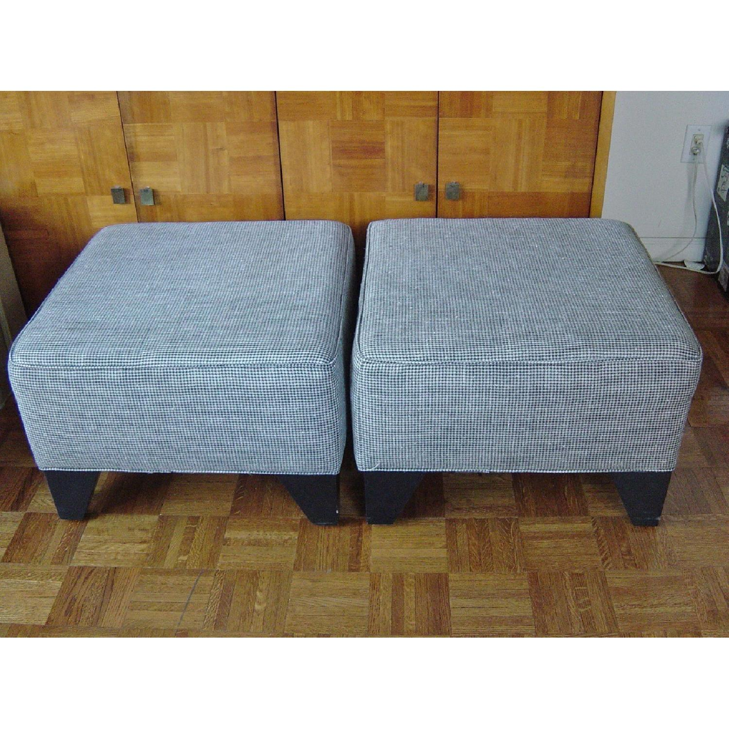 Houndstooth Upholstered Ottomans-0