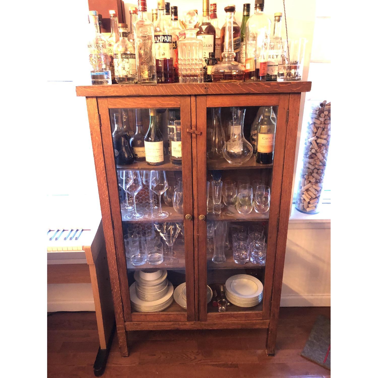 Antique Wood & Glass Cabinet-0