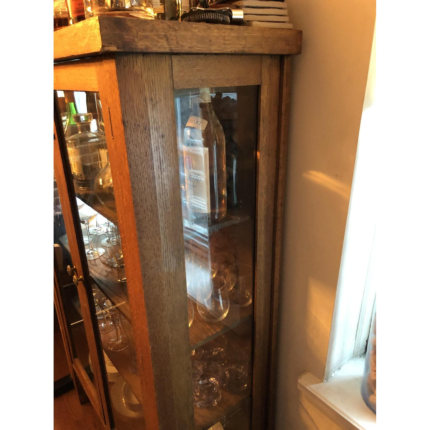 Antique Wood & Glass Cabinet-1