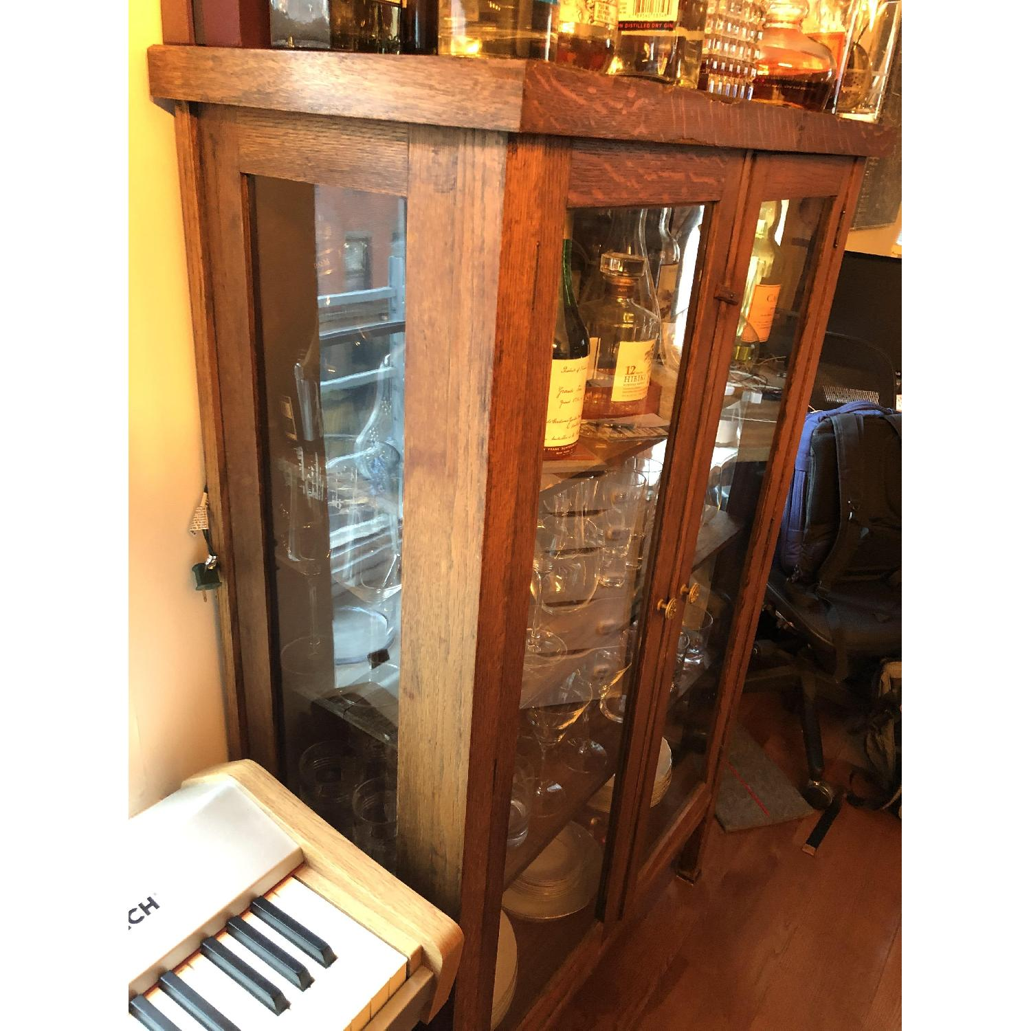 Antique Wood & Glass Cabinet-2