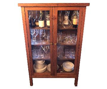 Antique Wood & Glass Cabinet