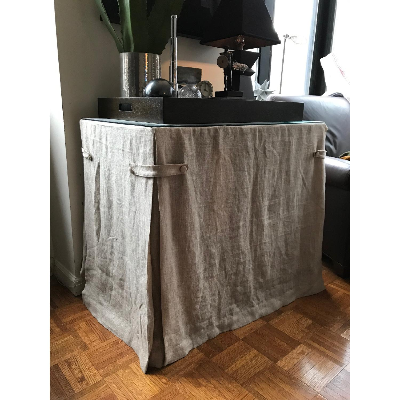 Ballard Designs Linen Draped Storage Table-4