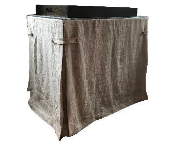 Ballard Designs Linen Draped Storage Table