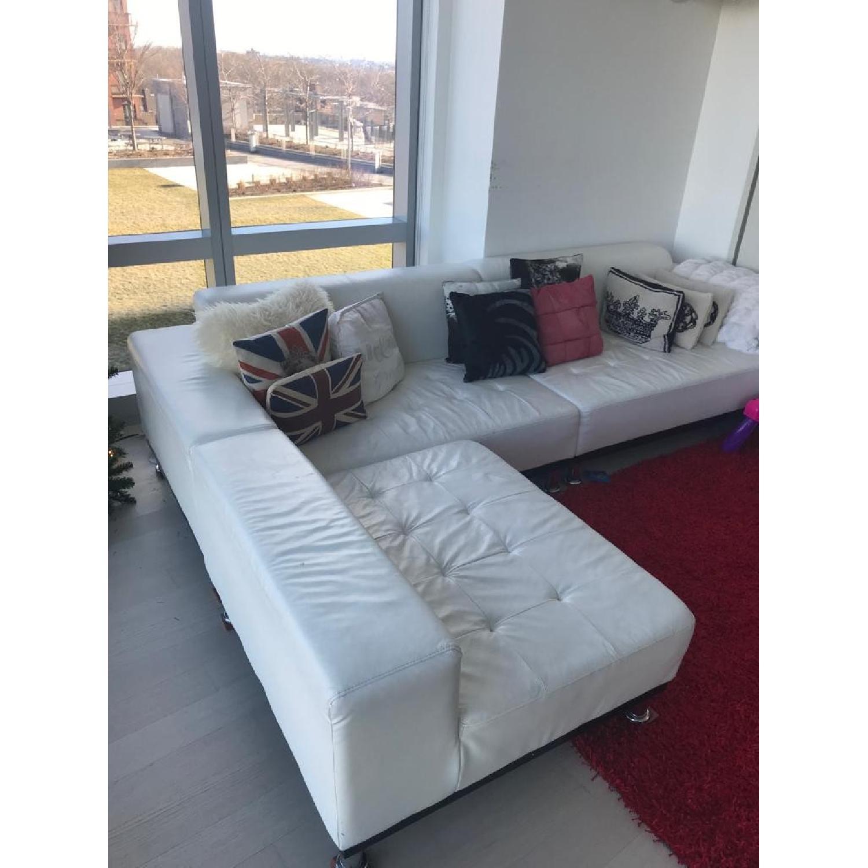 Modani White Eco Leather Phantom Sectional Sofa-1