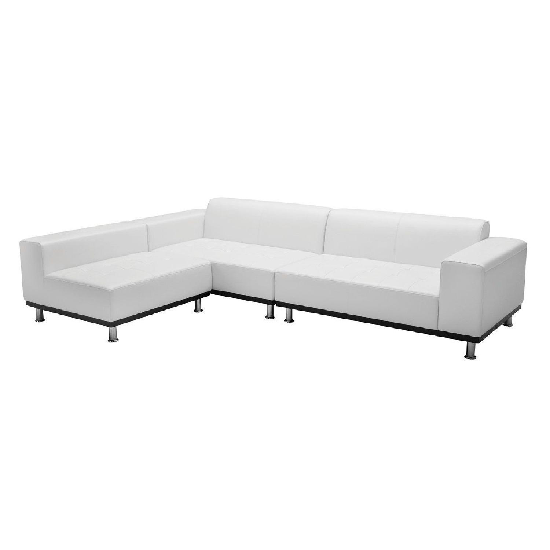 Modani White Eco Leather Phantom Sectional Sofa