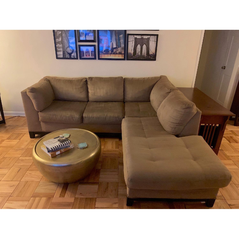 Raymour & Flanigan Mocha Microfiber Sectional Sofa-0