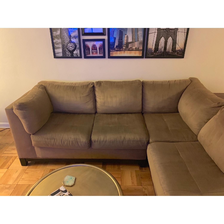 Raymour & Flanigan Mocha Microfiber Sectional Sofa-1