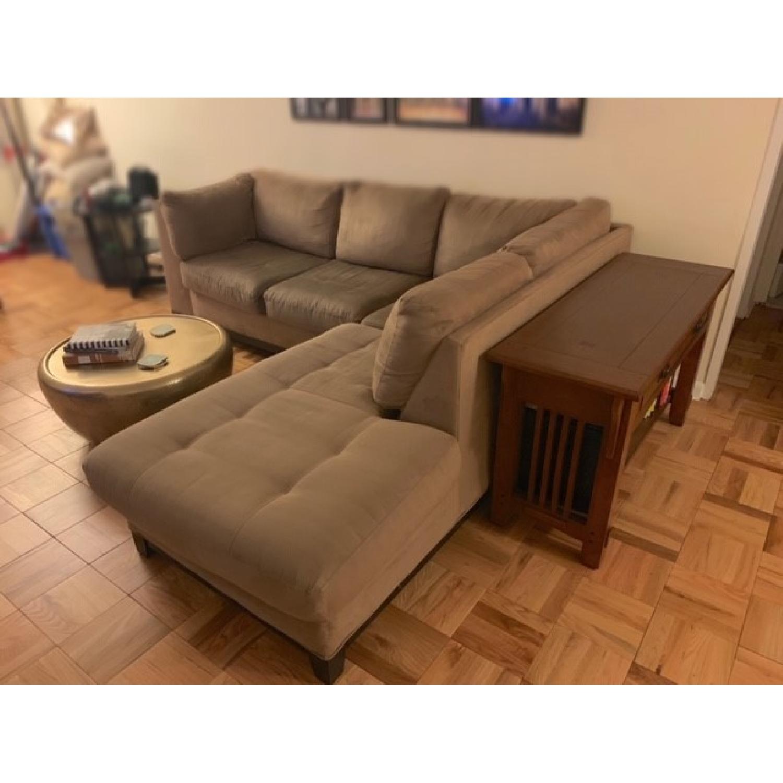 Raymour & Flanigan Mocha Microfiber Sectional Sofa-2