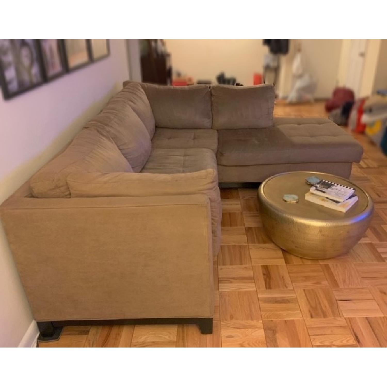 Raymour & Flanigan Mocha Microfiber Sectional Sofa-3