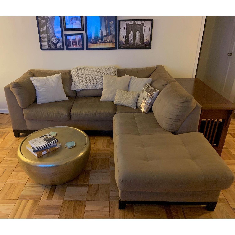 Raymour & Flanigan Mocha Microfiber Sectional Sofa-6
