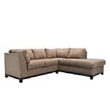 Raymour & Flanigan Mocha Microfiber Sectional Sofa