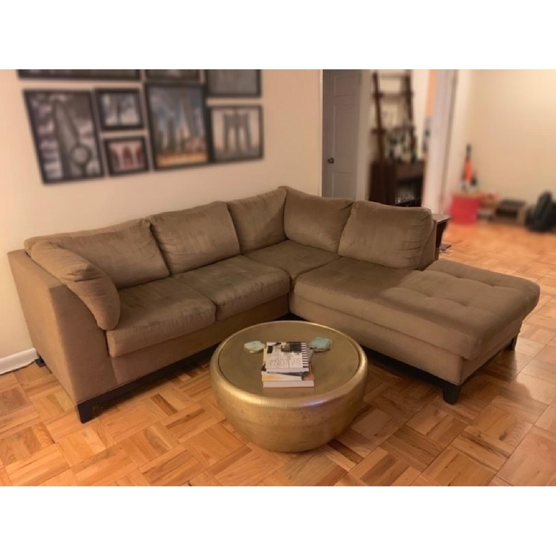 Raymour & Flanigan Mocha Microfiber Sectional Sofa-7