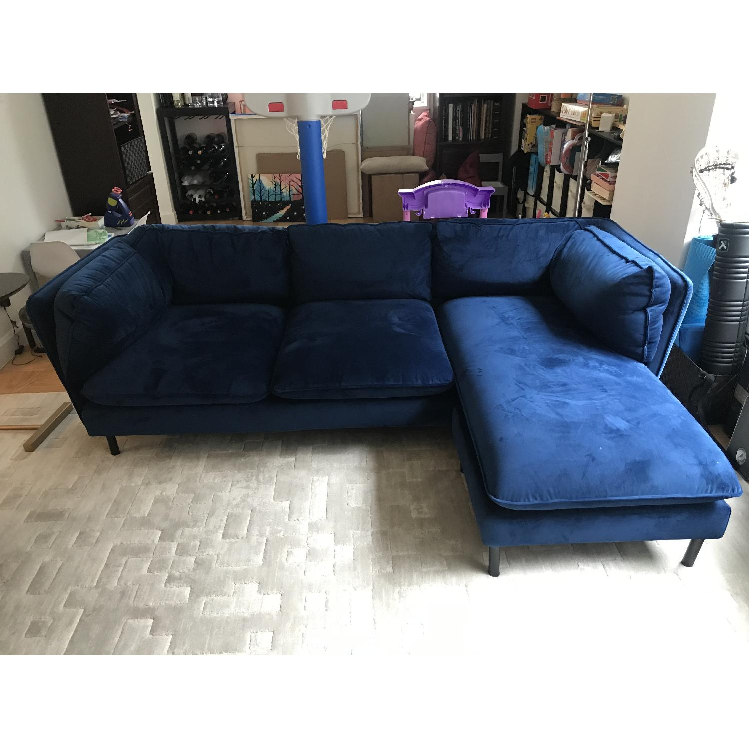 Rove Concepts Blue Velvet Sectional w/ Reversible Chaise-0