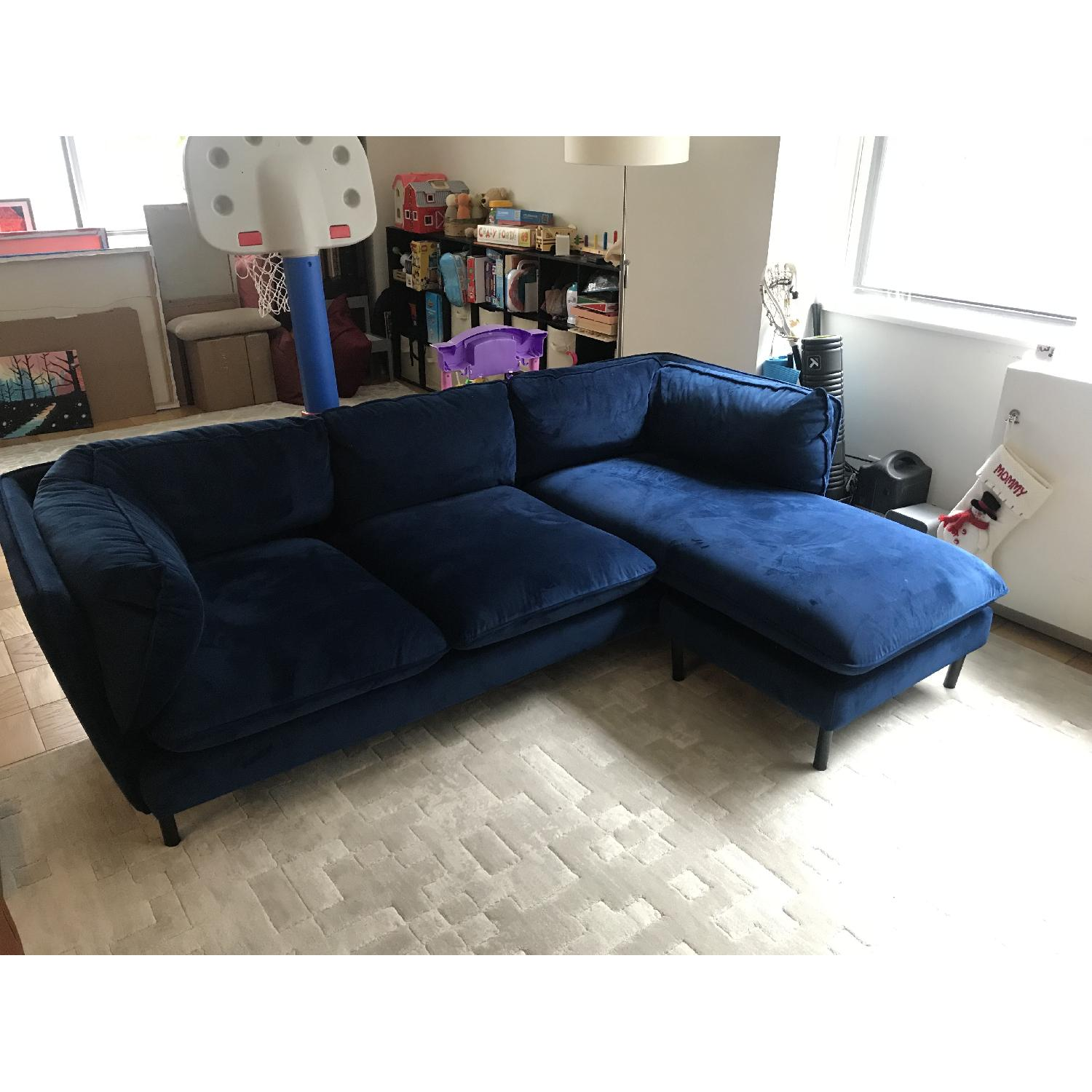 Rove Concepts Blue Velvet Sectional w/ Reversible Chaise-1