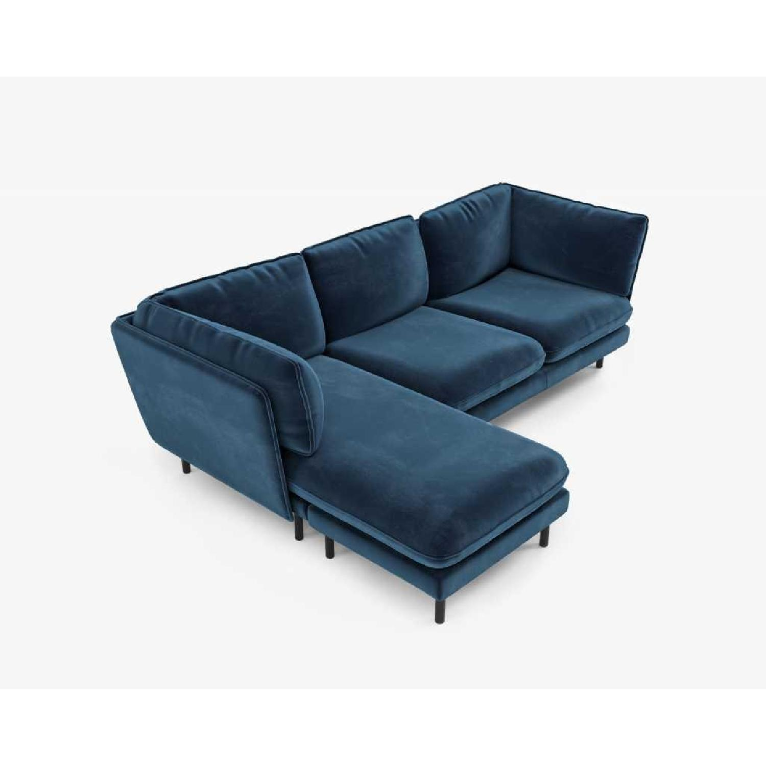 Rove Concepts Blue Velvet Sectional w/ Reversible Chaise-2