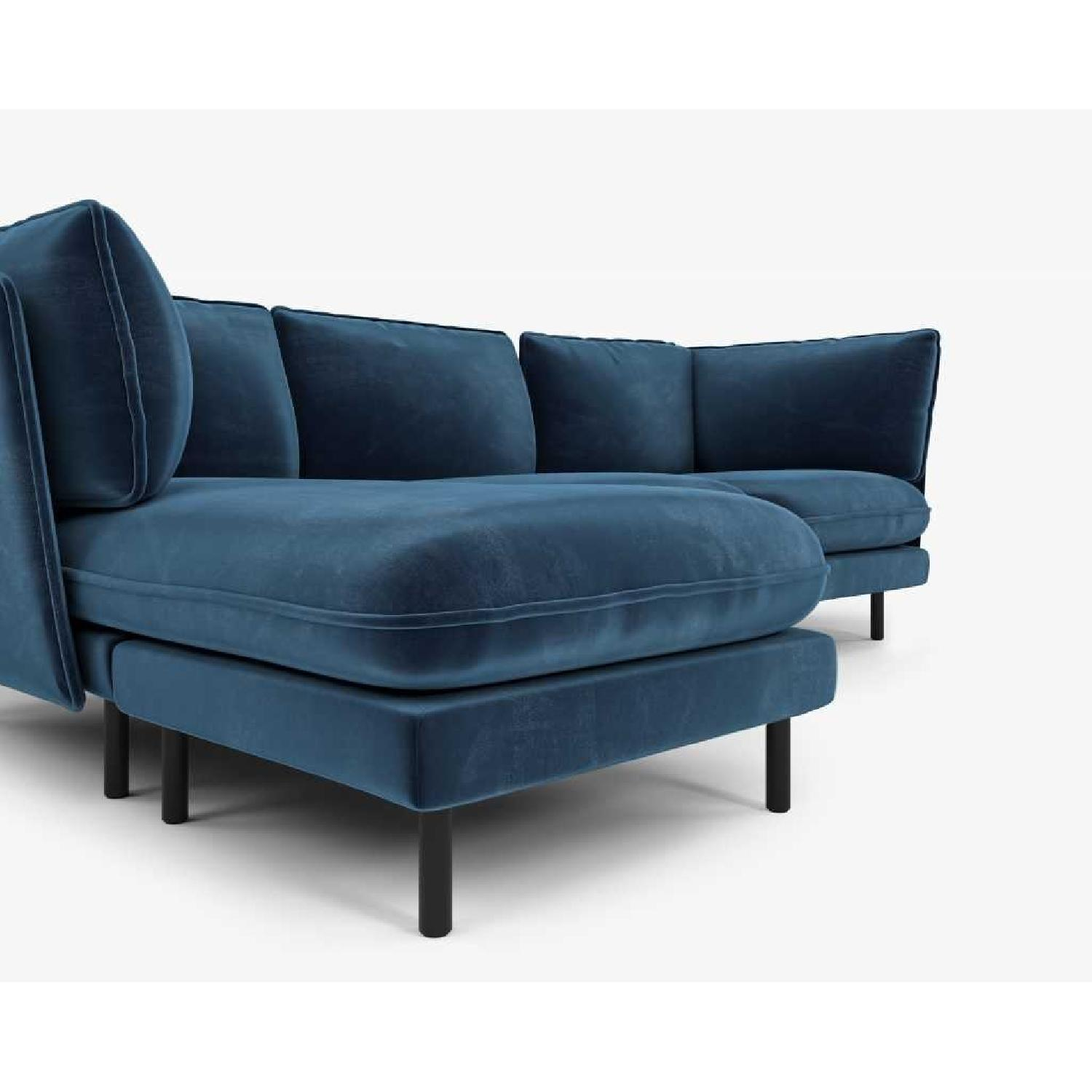 Rove Concepts Blue Velvet Sectional w/ Reversible Chaise-3