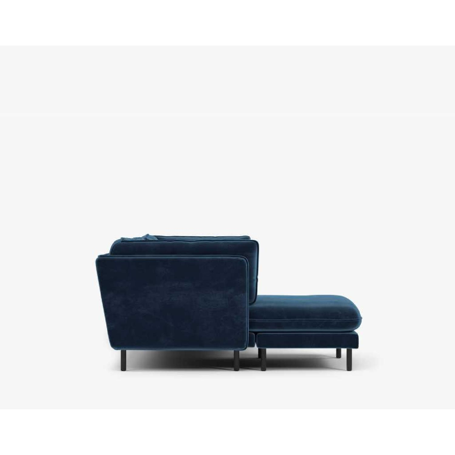 Rove Concepts Blue Velvet Sectional w/ Reversible Chaise-4
