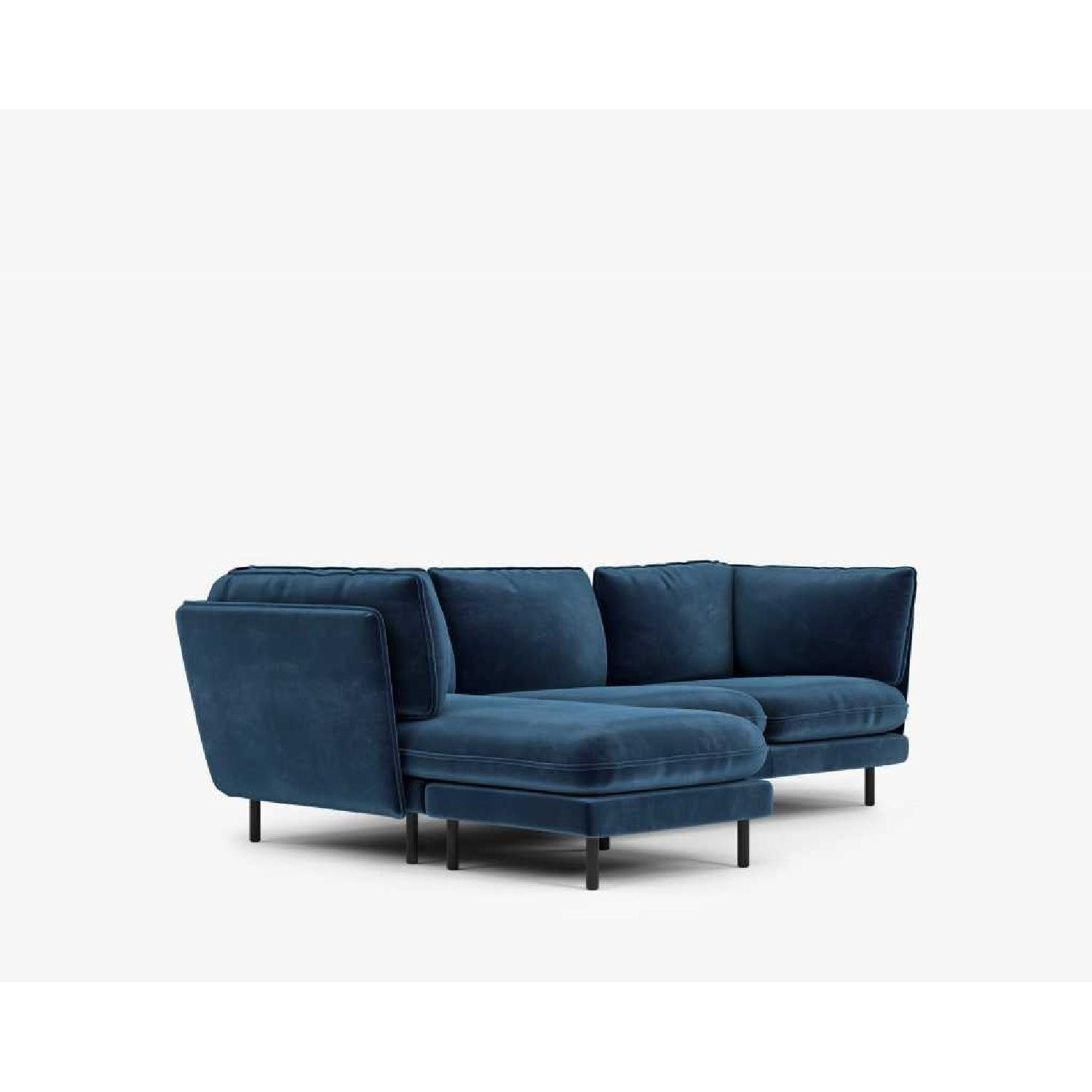 Rove Concepts Blue Velvet Sectional w/ Reversible Chaise-5