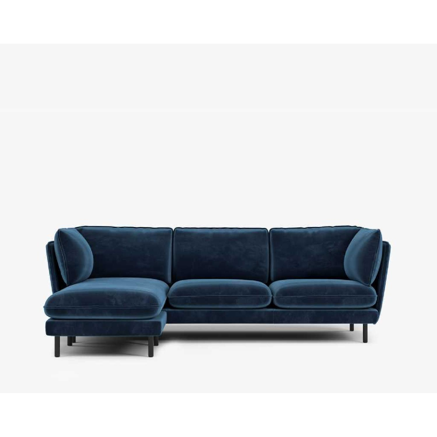 Rove Concepts Blue Velvet Sectional w/ Reversible Chaise-6