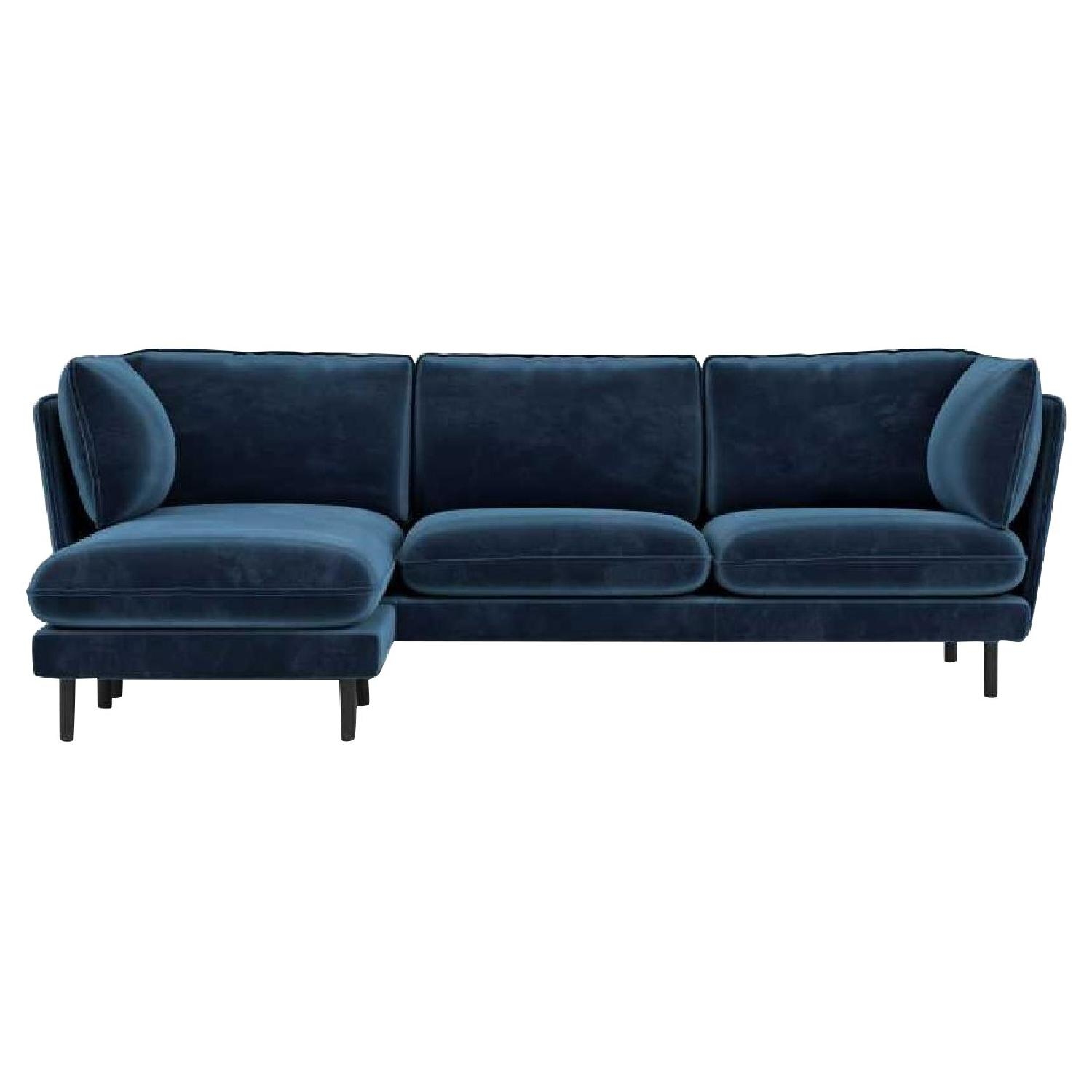 Rove Concepts Blue Velvet Sectional w/ Reversible Chaise