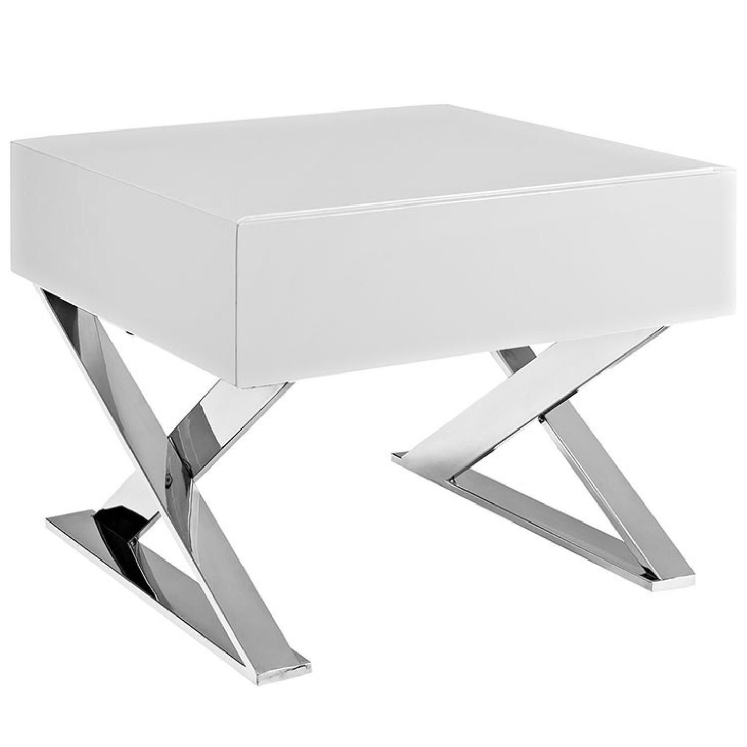 Manhattan Home Design Sector Nightstand in White