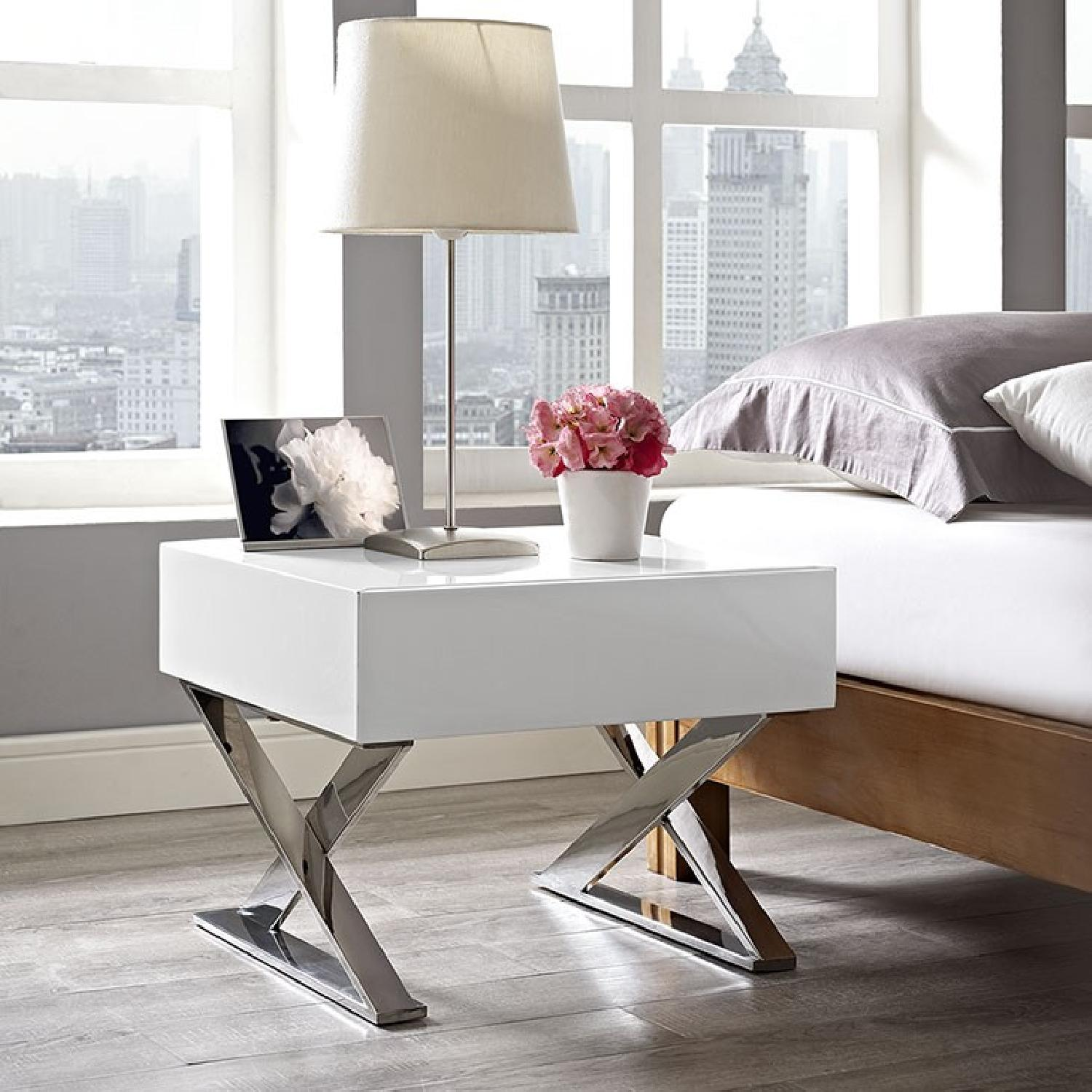 Manhattan Home Design Sector Nightstand in White-0