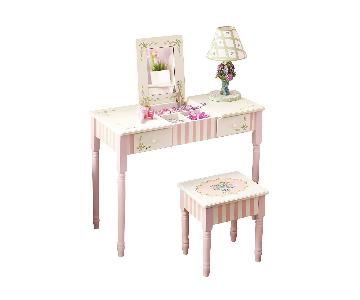 Thematic Kids Flip Top Vanity Table w/ Mirror & Stool