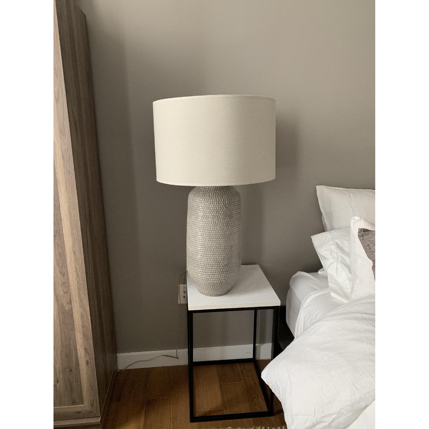 Crate & Barrel Cane Grey Table Lamp-6