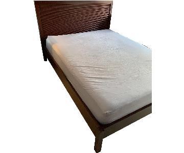 Crate & Barrel Dark Brown Wood Queen Bed