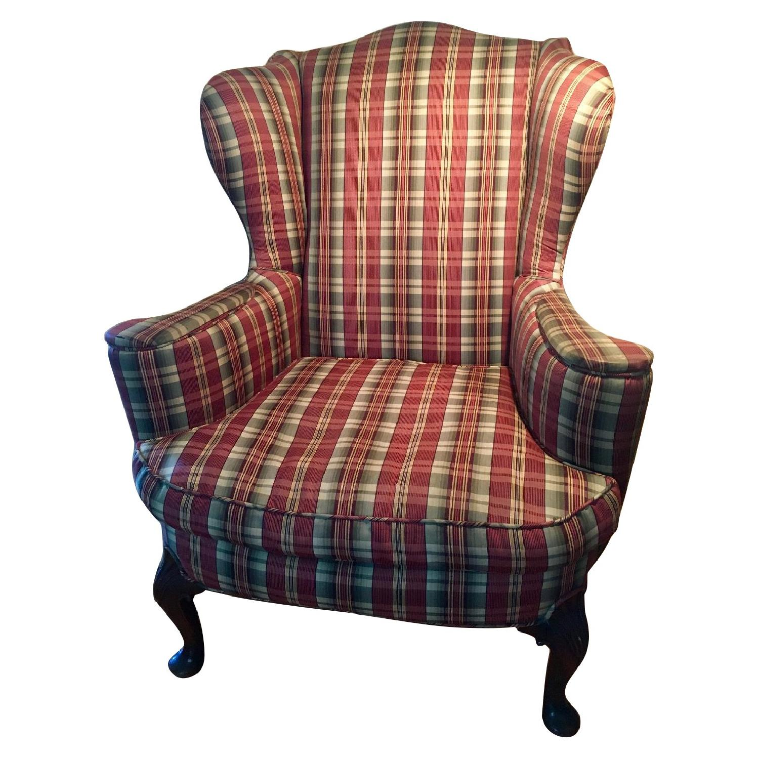 Vintage Queen Anne Antique Wingback Chair