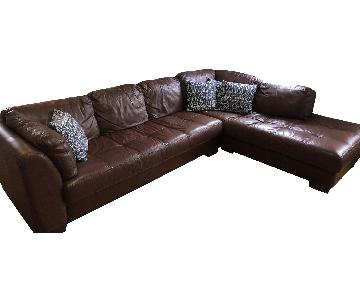 Macy's 2-Piece Modern Brown Leather Sectional Sofa