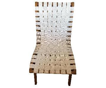 Mid Century White Wicker Accent Chair