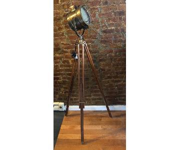 Antique Nautical Art Deco Tripod Floor Lamp