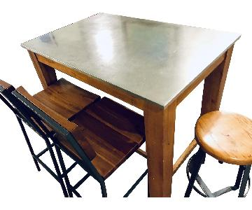 West Elm Rustic Kitchen Island Table w/ 4 Matching Stools