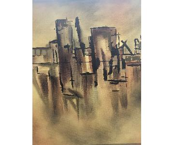Rooms To Go Abstract Skyline Canvas Painting
