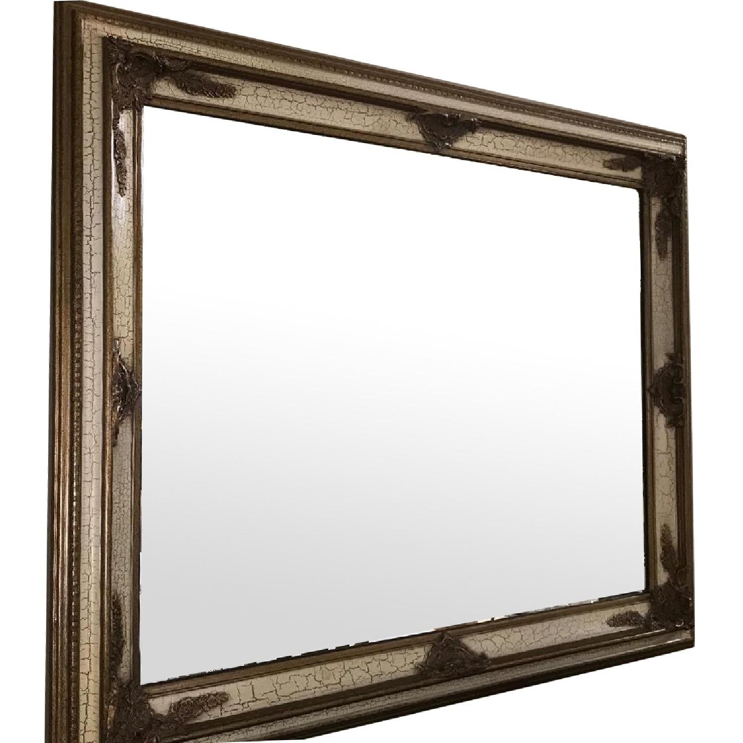 Large Mirror w/ Gold Scrolling & Crackle Design