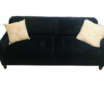 West Elm Paidge Blue Performance Velvet Queen Sleeper Sofa