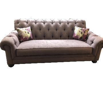 Ethan Allen Light Purple Chesterfield Sofa