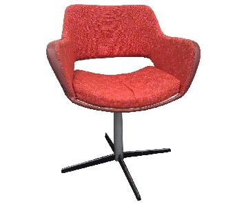 Mid Century Modern Swivel Chair w/ Vintage Red Upholstery