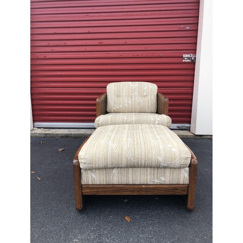 Vintage Lounge Chair w/ Cane Arms & Ottoman - image-1