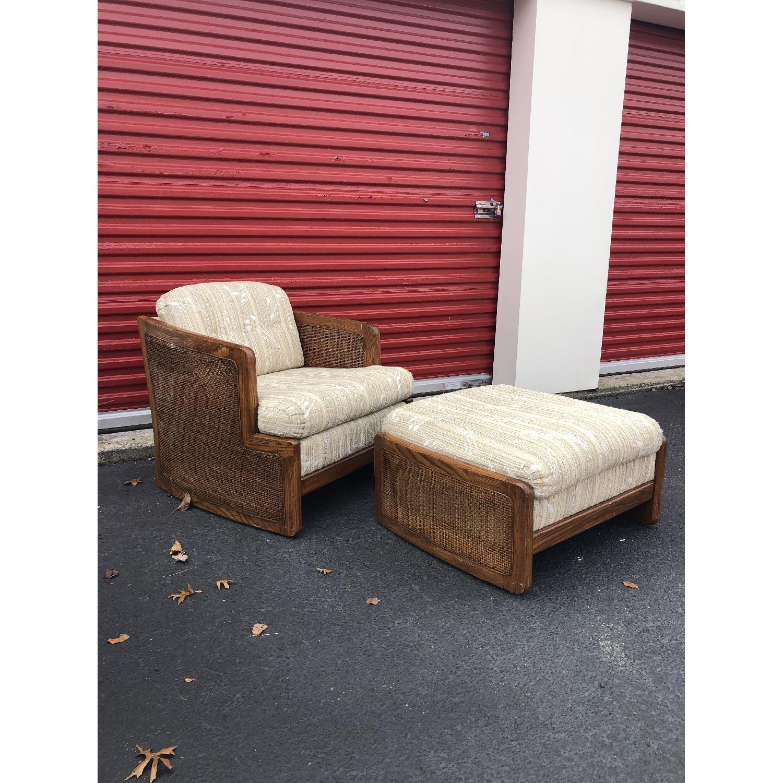Vintage Lounge Chair w/ Cane Arms & Ottoman - image-2