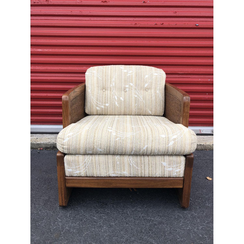 Vintage Lounge Chair w/ Cane Arms & Ottoman - image-4