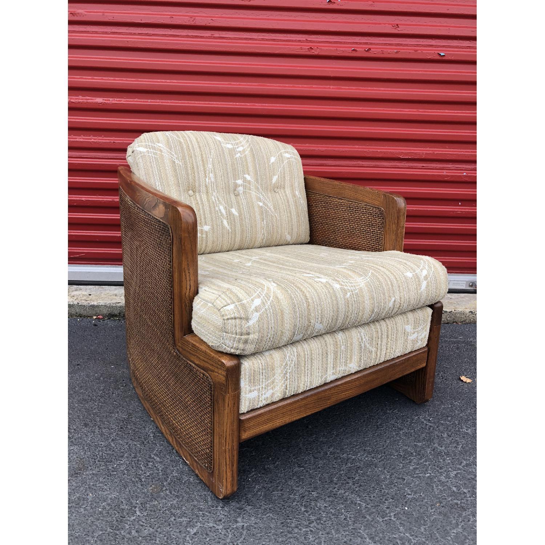 Vintage Lounge Chair w/ Cane Arms & Ottoman - image-5